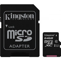 Kingston microSDXC 64GB UHS-1 (class 10) Gen2 45MB/s + adaptér (SDC10G2/64GB)