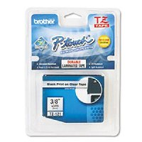Brother Black on Clear Gloss Laminated Tape, 9mm TZ-121
