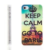 "Plastový kryt pro Apple iPhone 4 / 4S - ""Keep Calm And Go To Paris"" - Eiffelova věž"